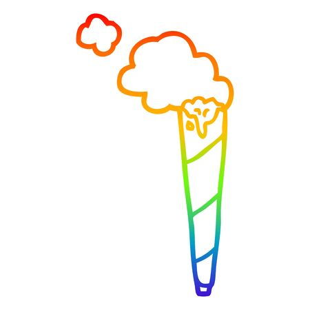 rainbow gradient line drawing of a cartoon rolled cigarette