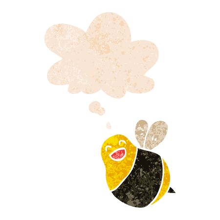 cartoon bee with thought bubble in grunge distressed retro textured style Çizim