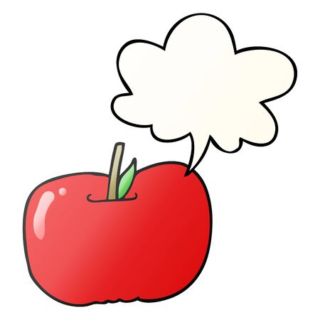 cartoon apple with speech bubble in smooth gradient style