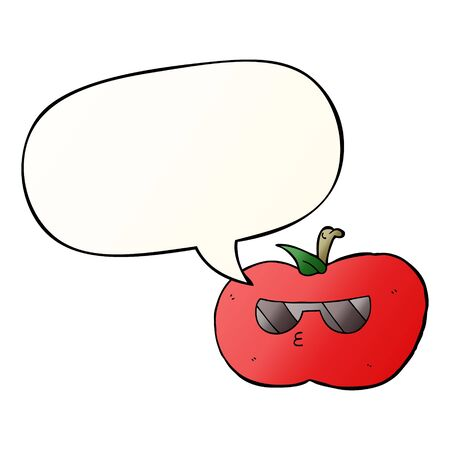 cartoon cool apple with speech bubble in smooth gradient style