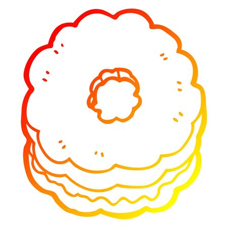 warm gradient line drawing of a cartoon biscuit Stock Illustratie