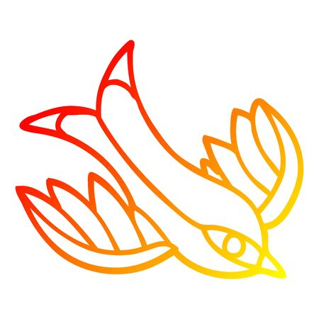 warm gradient line drawing of a cartoon swallow tattoo