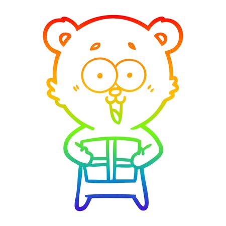 rainbow gradient line drawing of a laughing teddy  bear with christmas present