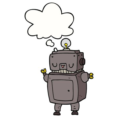 cartoon robot with thought bubble