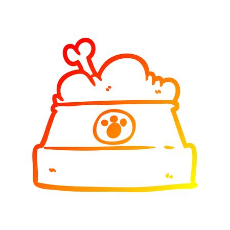 warm gradient line drawing of a bowl of dog food Stock Illustratie