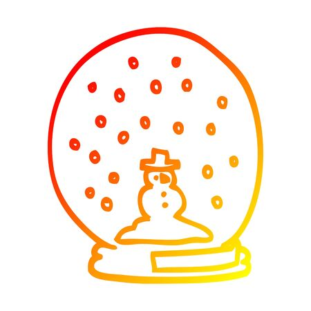 warm gradient line drawing of a cartoon snowglobe Stock Illustratie