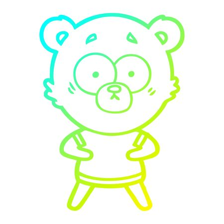 cold gradient line drawing of a surprised polar bear cartoon