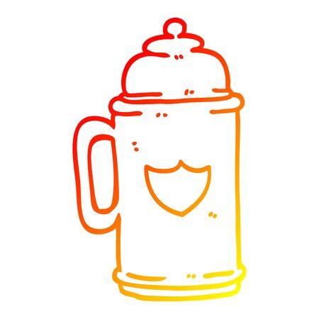 warm gradient line drawing of a cartoon traditional beer tankard Иллюстрация