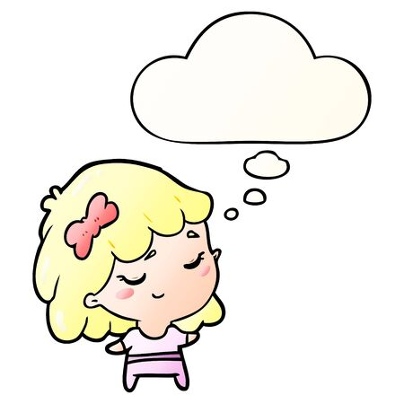 cartoon happy girl with thought bubble in smooth gradient style