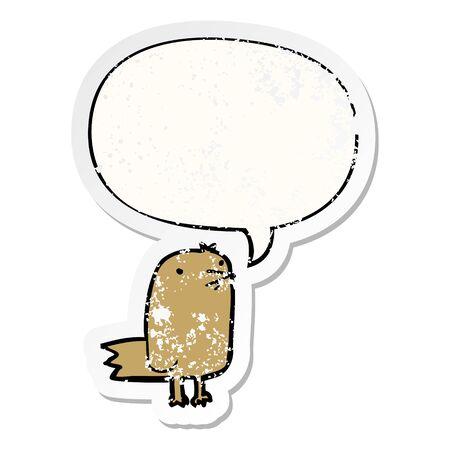 cartoon bird with speech bubble distressed distressed old sticker Illusztráció