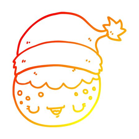 warm gradient line drawing of a cartoon christmas pudding wearing santa hat