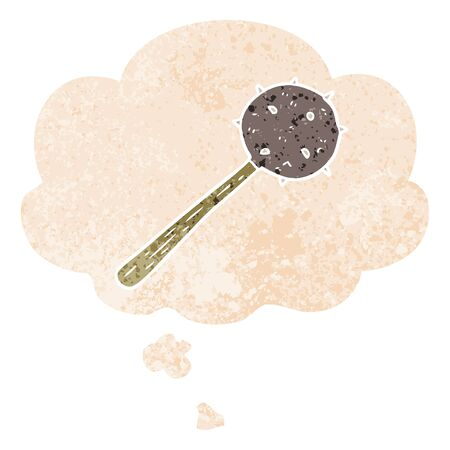 cartoon mace with thought bubble in grunge distressed retro textured style
