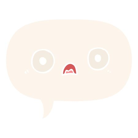 cute cartoon face with speech bubble in retro style