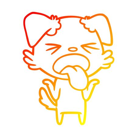 warm gradient line drawing of a cartoon disgusted dog shrugging shoulders