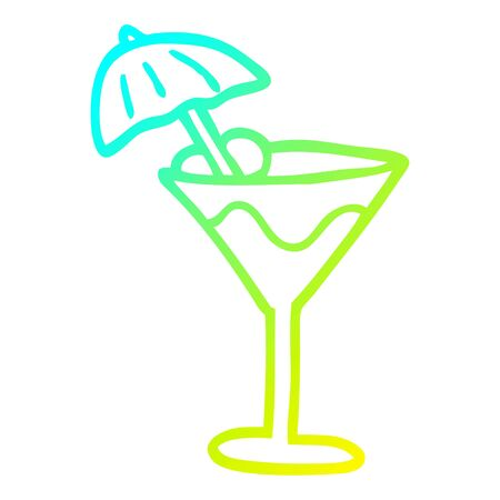 cold gradient line drawing of a cartoon martini drink