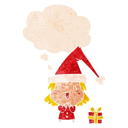 cartoon girl wearing christmas hat with thought bubble in grunge distressed retro textured style Illustration