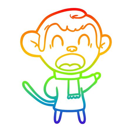 rainbow gradient line drawing of a shouting cartoon monkey wearing scarf Stock Illustratie