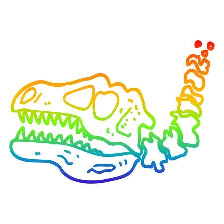 rainbow gradient line drawing of a cartoon dinosaur bones