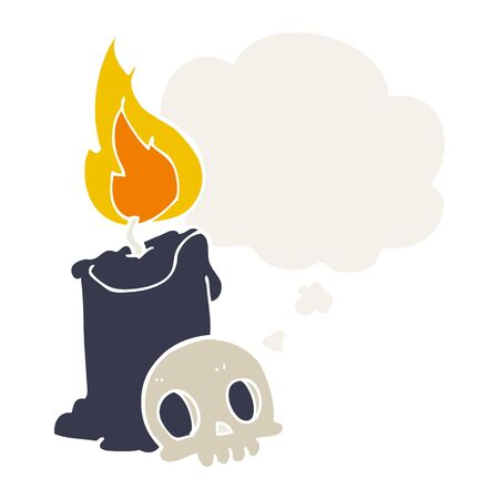 cartoon skull and candle with thought bubble in retro style