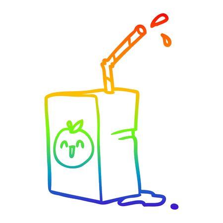 rainbow gradient line drawing of a apple juice box