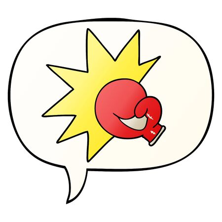 boxing glove cartoon with speech bubble in smooth gradient style