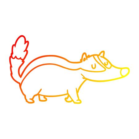 warm gradient line drawing of a cartoon badger