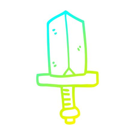 cold gradient line drawing of a cartoon jeweled dagger 写真素材 - 128053538