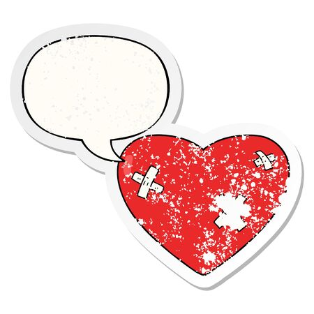 cartoon beaten up heart with speech bubble distressed distressed old sticker