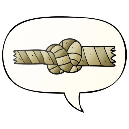 cartoon knotted rope with speech bubble in smooth gradient style Illustration