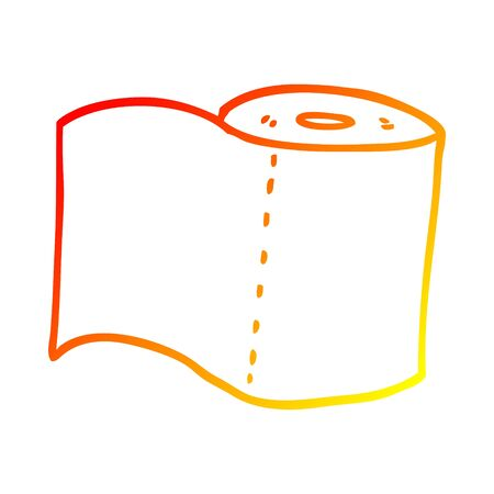 warm gradient line drawing of a cartoon toilet roll Archivio Fotografico - 128055579