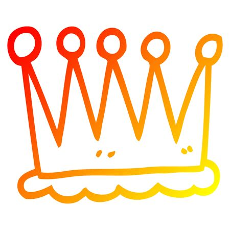 warm gradient line drawing of a simple cartoon crown Banque d'images - 128115623