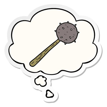 cartoon mace with thought bubble as a printed sticker