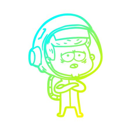 cold gradient line drawing of a cartoon tired astronaut