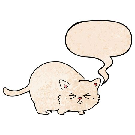 cartoon angry cat with speech bubble in retro texture style