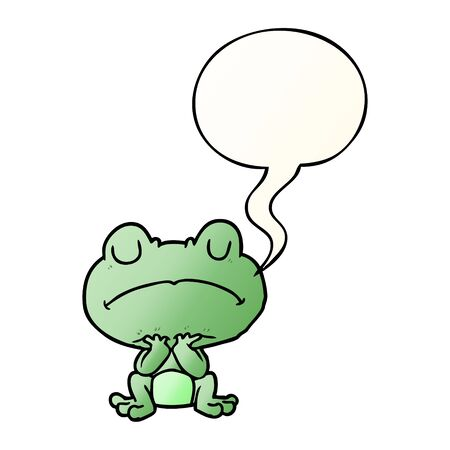 cartoon frog waiting patiently with speech bubble in smooth gradient style Ilustrace