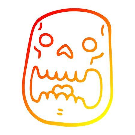 warm gradient line drawing of a cartoon halloween skull Çizim