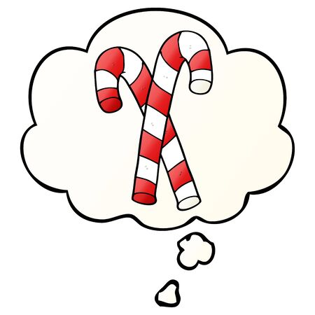 cartoon candy canes with thought bubble in smooth gradient style