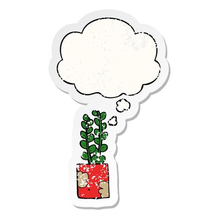 cartoon plant with thought bubble as a distressed worn sticker