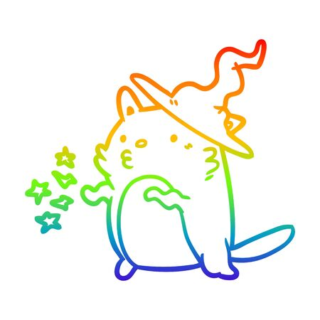 rainbow gradient line drawing of a magical amazing cat wizard