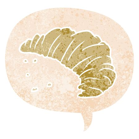 cartoon croissant with speech bubble in grunge distressed retro textured style Çizim
