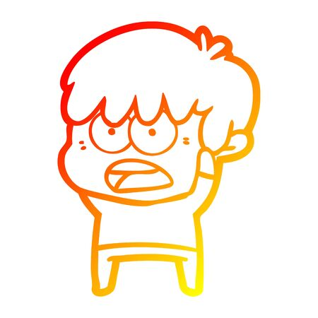 warm gradient line drawing of a worried cartoon boy