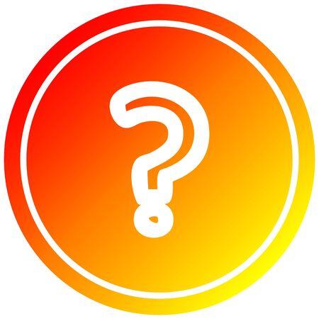 question mark circular icon with warm gradient finish Иллюстрация