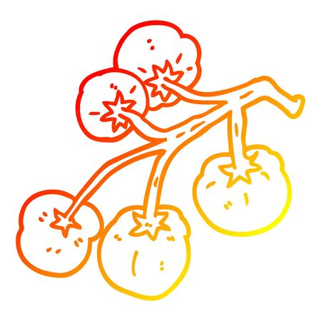 warm gradient line drawing of a cartoon tomatoes on vine Ilustrace
