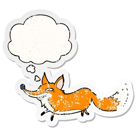 cartoon sly fox with thought bubble as a distressed worn sticker Illustration