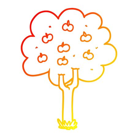 warm gradient line drawing of a cartoon apple tree