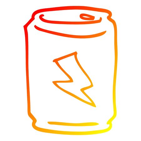 warm gradient line drawing of a cartoon can of energy drink