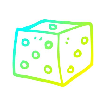 cold gradient line drawing of a cartoon red dice