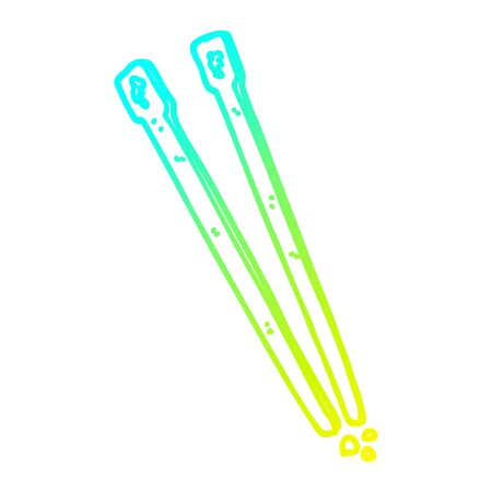 cold gradient line drawing of a cartoon wooden chopsticks Illusztráció
