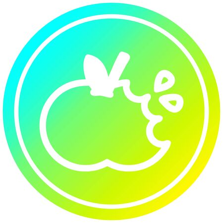 bitten apple circular icon with cool gradient finish