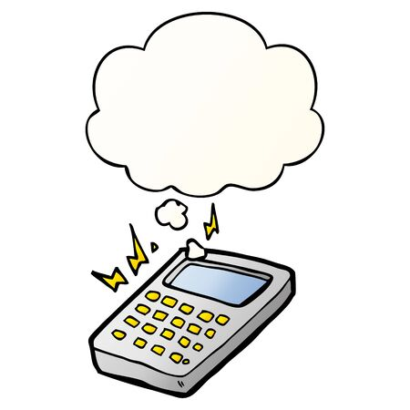 cartoon calculator with thought bubble in smooth gradient style Ilustração